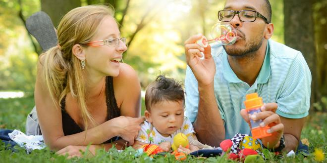 young family in the park